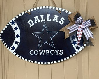 Dallas Cowboys Wood Football Door Hanger/ Sign - Man Cave Wood Decor- Coach Gifts- Man Cave Dallas Cowboys Football Sign