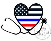 Nurse Stethoscope Supporting Police  and Firefighters Wife and Law Enforcement Thin Blue Line Heart Vinyl Decal