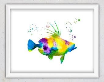 Colorful Fish Nursery Print, Watercolor Nursery Wall Art Print, Watercolor Poster Print, Marine Life Print, Kids Room Art, Children's Room