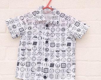 Black and white stamp shirt (handmade)