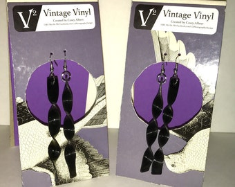 Spiral Vinyl Record Earrings