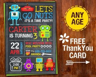 Robot Invitation, Robot Birthday Invitation, Robot Party, Robot Invite, Robot Birhday Invitation, Let's Go Nuts Friends, Pobot Printable