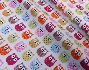 Fabric mini owls pink multicolor - dimension for 1 quantity 50 cm x 160 cm - 100% cotton