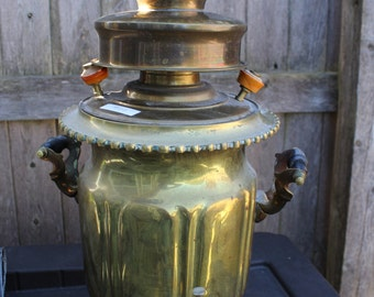 Antique Brass Tea Urn with Black Wood Handles- Circa 1950