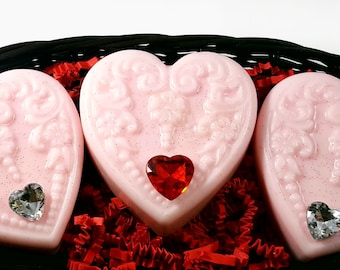 Victorian Hearts /Organic Soap Set / Reusable Dark Brown Basket / Gluten Free
