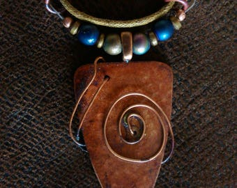 Hammered Copper Necklace with stone beads