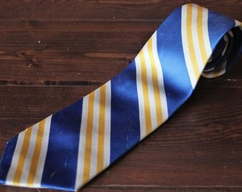 Vintage Mens Tie from the 1970s, 70s Tie, Blue yellow and white stripes, Trevira Tie, Great Gift!