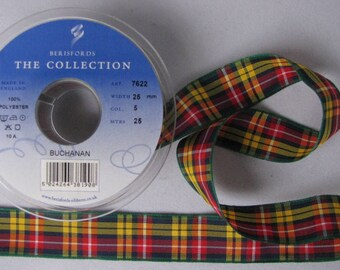 25mm Tartan Ribbon - Buchanan:  CUT LENGTHS. .... (25m Reels + 7/10/16/40/70mm widths also available - pls. see REELS and other listings)