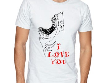I Love You Shark On A White Short Sleeve T-shirt On 100% Cotton Tee