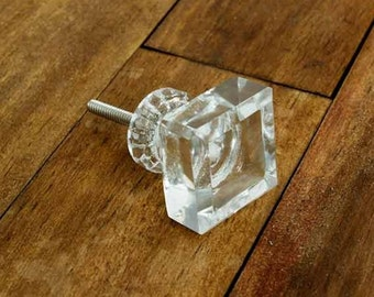 Square Clear Glass Knob