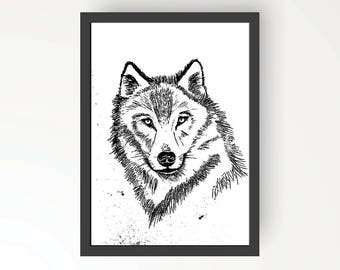 Wolf Black & White Ink illustration - Digital Print Poster A4, A3