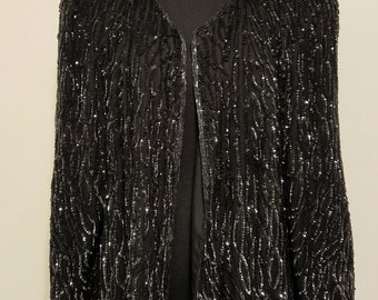 Silvia (black sequins vintage jacket)