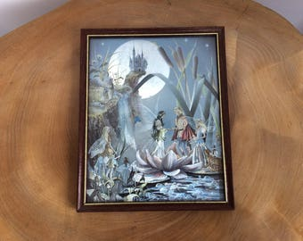 Vintage Framed Dufex Foil Print - Jean and Ron Henry Fantasy, The Fairy Wedding