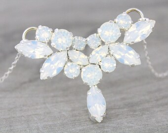 White opal necklace, Wedding jewelry, Crystal Bridal necklace, Sterling silver necklace, Wedding necklace, Swarovski necklace, Bridesmaid