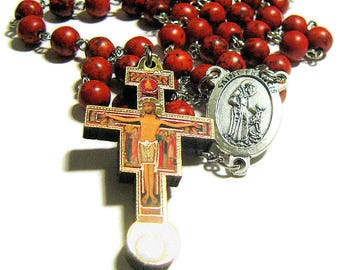 Catholic Rosary, St Francis - Pope Francis Rosary, San Damiano Crucifix With Third Class St Francis Relic