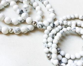Howlite Mala Bracelet | Mala Beads | Mala Jewelry | Howlite Jewelry | Friendship Bracelet | Bridal Gift | Stacking Bracelet | Bead Bracelet