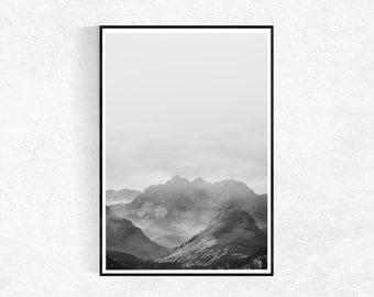 Mountains Print, Scandinavian Print, Mountains Poster, Black And White Wall Art, Minimalist Poster, Modern Printable Art