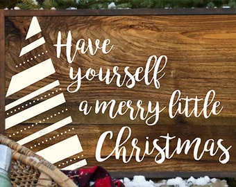 "Printable ""Have Yourself a Merry Little Christmas"" with Christmas Tree on Rustic Wood 8 X 10 Image"