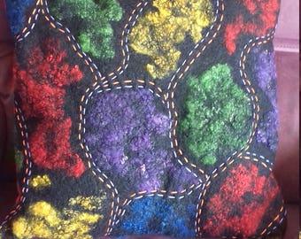 decorative cushion, cushion in wool, felted, felt cushion, pillow felt, cushion in wool, decorative cushion