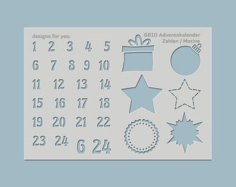 Template / stencil 6810 advent calendar numbers & motifs for example mixed media, scrapbooking, canvas, art journaling, cards, cardboard,