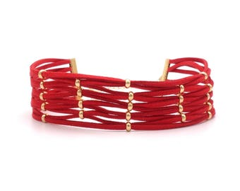 Choker necklace chain collar red gold beads