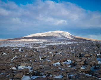 Whernside, Yorkshire Dales, Photographic Art Print, Cold Landscape, Cloud and Rock Textures, Limestone Pavement, Snowy Mountain