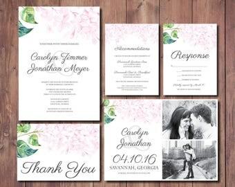 Blush Wedding Invitation Suite, Pink Floral Wedding Invite, Blush Pink Wedding Invitation Suite, Pink Floral Wedding Invitation Suite