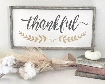 "THANKFUL SIGN | 11.75""x25.5"" | | framed wood sign | farmhouse decor | farmhouse sign | rustic sign | home decor"