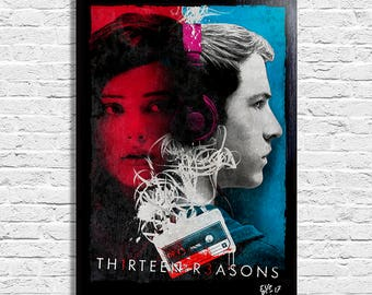 Clay Jensen and Hannah Baker from 13 Reasons Why - Original framed fine art painting, poster, canvas, artwork, tv series, netflix,