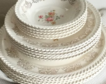 Antique Bone China Gadroon Gold Filigree Dishes