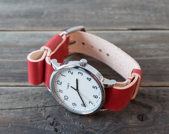Timex + Leather Nato Watch Strap / Custom Red Vegetable Tanned Leather Watch Band / 18mm 20mm 22mm
