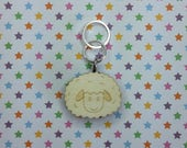 Sheep wooden stitch marker - knitting notions - charm - pendant