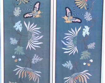 Vintage 1930's Pair of Chinese Framed Embroidered Silk Panels Interior Design BoutiqueByDanielle
