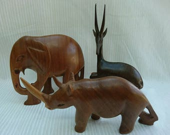 Vintage 1960's Trio of Wooden African Animals Antelope Gazelle Elephant and Rhinoceros Interior Design BoutiqueByDanielle