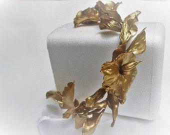 Headdress wedding-Crown dorada-Tocado - Tiara-style flowers and hojas-Hojas Romantico-tocado doradas-Estilo Roman - Greek style - elegant