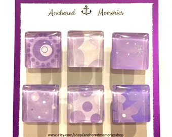 Handmade Glass Magnets - Set of 6 - Purple Whimsy (Bubbles & Flowers) | Holiday Gift | Party Favors | Stocking Stuffer