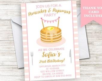 Pancake Invitation Pajamas Birthday Invite Pink Stripes Breakfast Party ANY AGE 5x7 Digital Personalized
