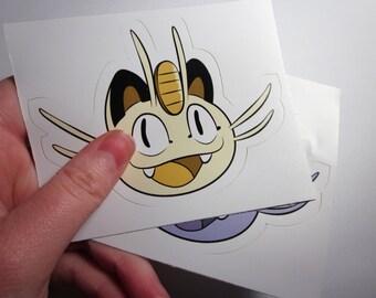 """POKEMON Meowth + Alolan Meowth Vinyl Sticker Set (3x4"""")"""