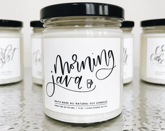 MORNING JAVA, Coffee candle, Coffee scented candle, Coffee lover candle, Coffee candles, Mason jar candle, Candles, Thank you gift