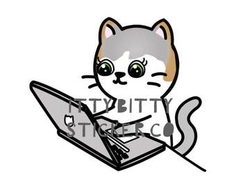 Computer time Mauly - Hand Drawn IttyBitty Kitty  Collection - Planner Stickers