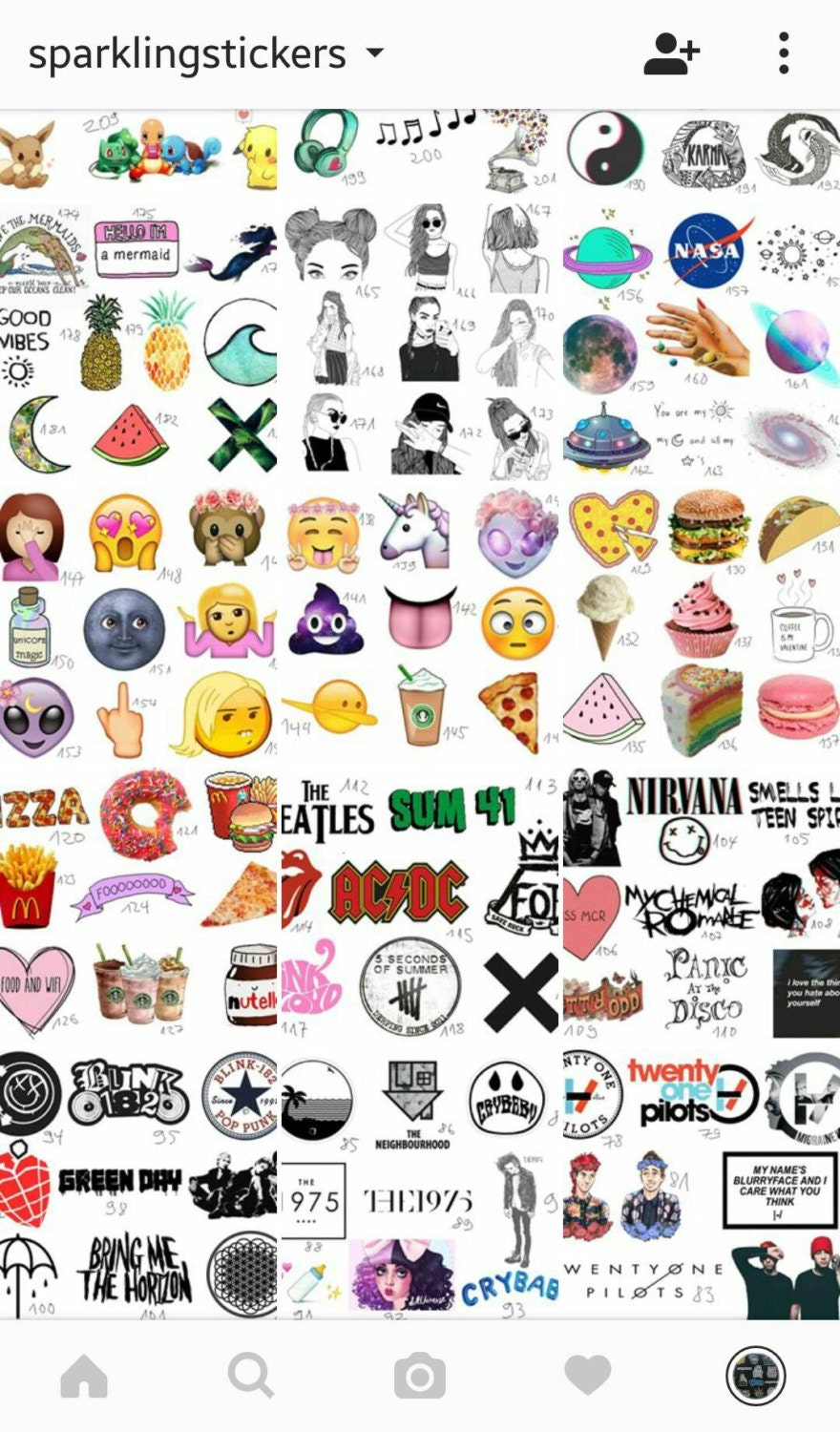 350+ stickers, you choose! Tumblr, grunge, indie... from SparklingStuffStudio on Etsy Studio