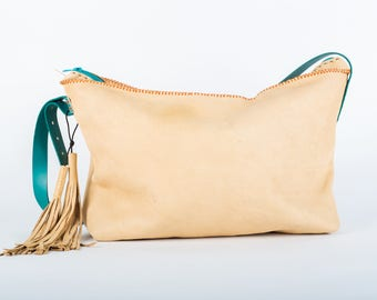 Slouchy  cross body leather tassel boho bag