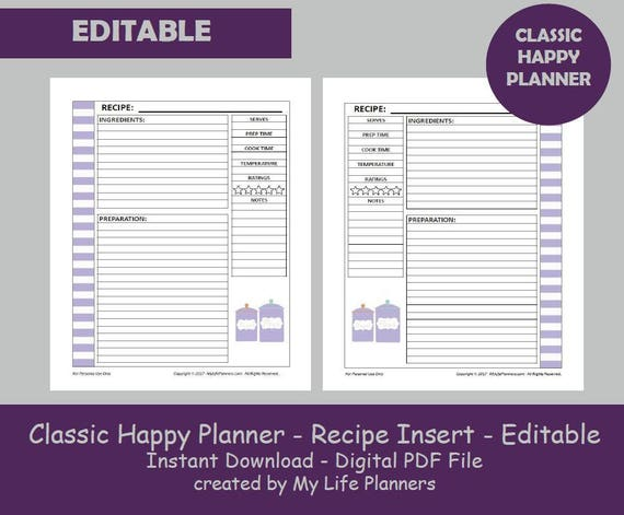Transformative image inside happy planner recipe printable