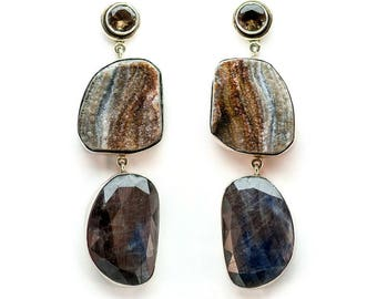 Smoky Quartz, Druzy and Sapphire Earrings