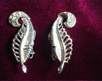 50's Art Deco Silver Feather Rhinestone Earrings