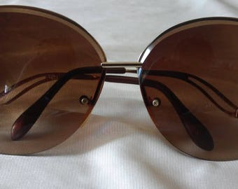 70's Low Temple Brown tinted Jackie O Sunglasses