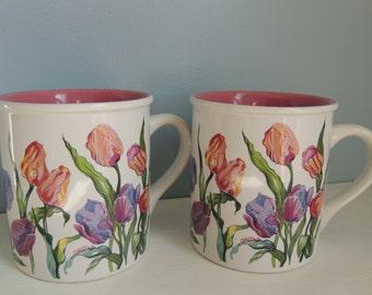 Tulip Delight Mugs, Vintage Creative Concepts Tulip Mugs, Set of 2 Vintage Tulip Mugs, Springtime Tulip Coffee/Tea Cups, Vintage Flower Mugs