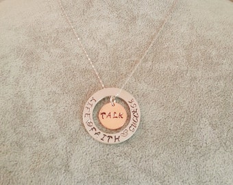 Talk Life,Faith,Success,Hand stamped necklace,Personalized Necklace,Customize Gift,Sterling silver Necklace,jade bead,Scripture necklace