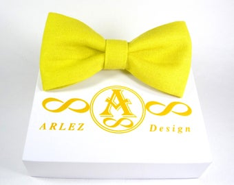 Yellow Linen bow tie, Yellow bow tie for wedding, mens bow tie, yellow baby bow tie, Adjustable Bow Tie