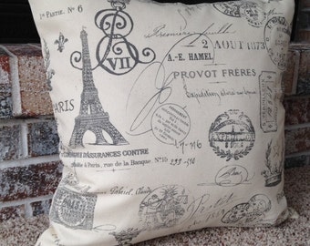 "18"" x 18"" Throw Pillow Cover, Paris, France"
